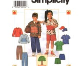 Kids Sewing Pattern Pullover Top, Pants, Shorts, Cap Simplicity 7728 Patch Pocket Size 3 to 6 Boys or Girls