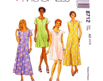 Womens Dress Pattern McCalls 8712 Loose Flared Dress Keyhole Dress Easy Womens Sewing Pattern Size 4 6 8 UNCUT