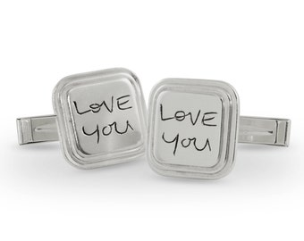 Custom Handwriting Cuff Links - Signature Cuff Links - Silver Cuff Links - Personalized Cuff Links - Custom Memorial Gift - up to 10 letters