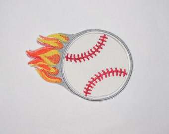 "Embroidered Iron On Applique-  ""Flame Baseball"""