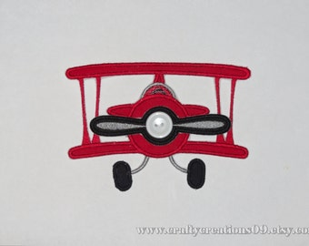 Embroidered Iron On Applique- Airplane with SPINNING Propeller