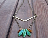 Woodland Featherlight - Brass Metalwork Necklace - Glass Bead Brass Long Necklace - Artisan Tangleweeds Jewelry