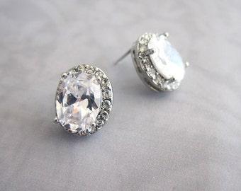 Classic Vintage Style Oval earrings, Wedding Oval earrings, Bridesmaid earrings, bridal crystal cz earrings, 1920s earrings - 'LUCY'