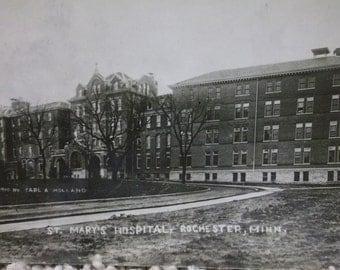 St. Mary's Hospital-Rochester,MN-Historic-Nurse-1910 Vintage Real Photo Postcard