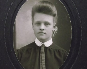 Antique Cabinet Photo Matted-Pretty Teen Girl-Hairstyle-Fashion-Kensington,MN