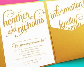 Wedding Invitations - Pocket Fold Invitations - Pocketfold Invitations - Pocket Invitations - Wedding Invites - Pocket Invites