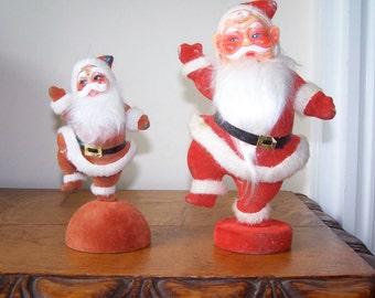 Flocked Santa, Dancing Santa, Set of 2, Plastic Santa, Santa Doll Figurine, Santa on Pedestal, Santa Kitsch, Vintage Kitsch, Christmas Decor