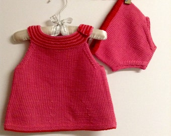 Hand knit baby dress with diaper cover 100% cotton. Size 1- 3 Months--READY TO SHIP