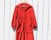 Vintage 70's Dress / BURNT ORANGE / Velour / M L
