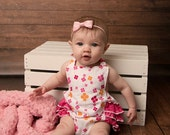 Baby Girl Ruffle Romper - Spring and Easter Romper - Flower Romper - pink white romper - infant outfit - photo prop pictures - baby boysuit