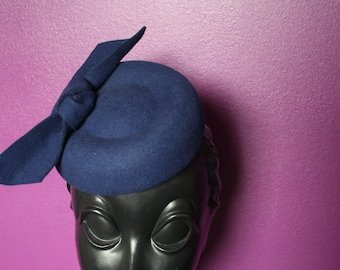 Blue Wool Felt Pork Pie Hat