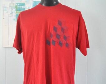Qbert Cubes Tee Steel Blue on Red TShirt Geometric Unique Original Design Abstract MENS XXL XL