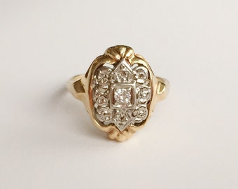 V I N T A G E // 14k embossed flowers / yellow and white gold with diamond / art deco ring / size 4.75