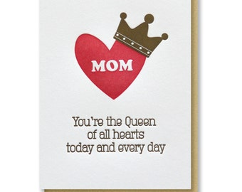 Cute Crown Heart Mom Birthday / Thank You Mom / Mother's Day / Queen Mom Letterpress Card