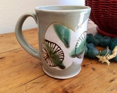 Pottery Coffee Cup: Hand Made, Floral Pattern