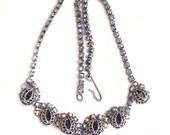 Shimmering Blue Aurora Borealis Rhinestone Necklace