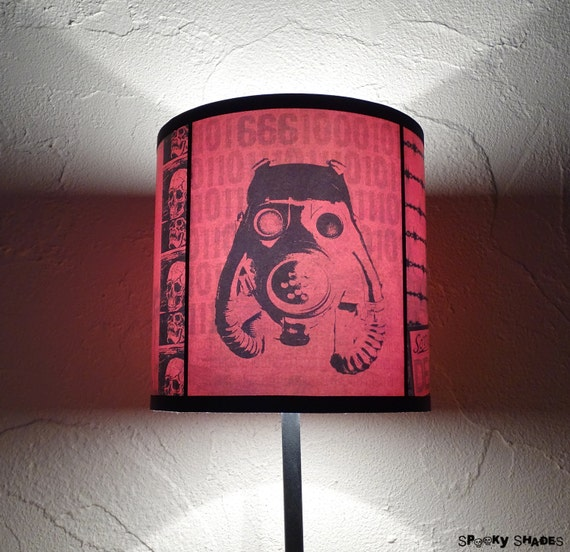 Red lamp shade lampshade 2012 A.D. - lighting, lamp shade, gasmask, steampunk decor, contemporary lampshade, zombie,apocalypse,SPOOKY SHADES