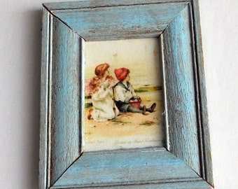 1/12 Scale Shabby Chic Framed Picture At The Seashore