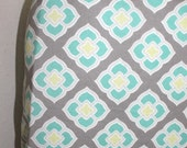 Crib Sheet Grey Aqua White Custom Crib Bedding Choose Your Fabrics