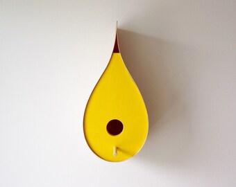 Yellow Raindrop Bird House - Birch