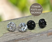 New! Two Pair Set of 8mm Black and Silver Metallic Faux Druzy Studs, Titanium Post Earrings