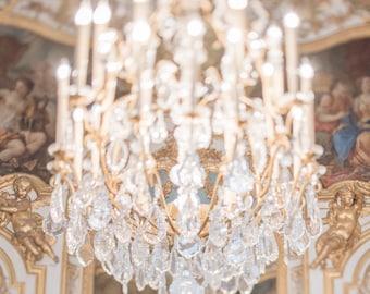 Paris Photography - La Lumiere, Golden Chandelier Fine Art Photographic Print, French Home Decor, Large Wall Art