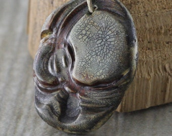 Stamp Texture Imprinted Design Art Bead, Focal Pendant, Polymer Clay Charm, Jewelry Supplies,