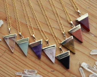 Gold Dipped Triangle Crystal Necklace - Quartz Agate Tigers Eye Rose Amethyst Dark Purple Raw Smooth Plated Chain Natural Healing Layering