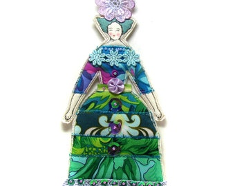 Small Embellished Flat Fabric Lady Doll Ornament Textile Art Doll Fabric Art Doll Colorful Lady Doll Ornament