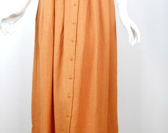 VTG Linen Pleated Long Skirt Orange