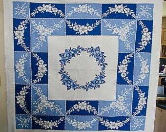 Vintage 1950's Blue Floral Startex Tablecloth
