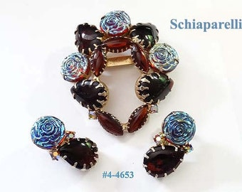 FREE SHIP  Schiaparelli Fabulous Brooch and Earrings Set (4-4653)