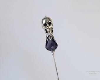 Silver Skull Stick Pin, Silver Tone, Purple Preciosa Crystal, Lapel Pin, Scarf Pin, S0109