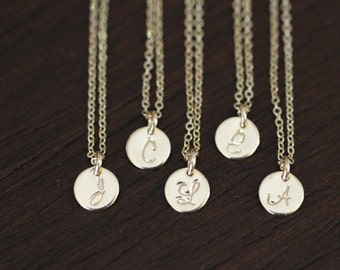 gold necklace, dainty gold necklace, dainty necklace, gold initial necklace, gold filled necklace, tiny disc necklace, gift for her, gold