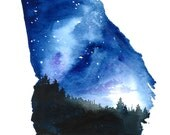 Starry Sky for Brandon, print from original watercolor by Jessica Durrant