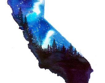 California Stars, print from original watercolor illustration by Jessica Durrant