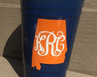 Navy and Orange Auburn Personalized 30oz Big Gulp Solo Cup with Straw; War Eagle, Game Day and Tailgating