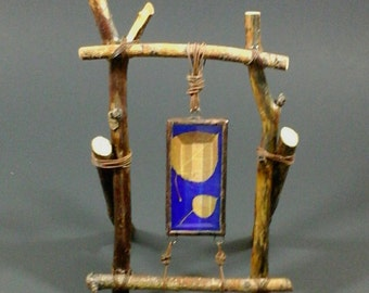 No. 15 Rustic Table Top Branches Lodge-style Frame with beveled glass, blue glass background and Aspen leaves