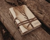 leather journal, notebook, diary in brown and beige with vintage style old paper, custom personalized quote - Memories of a Tree