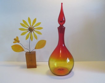 Vintage BLENKO GLASS. Mid Century Glass Decanter  #718 in Tangerine - RARE