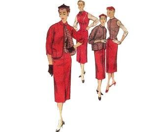 1950s Jacket and Skirt Pattern Reversible Jacket Slim Skirt Weskit 3 Piece Suit Kimono Sleeve Simplicity 4843 Bust 30 Vintage Sewing Pattern