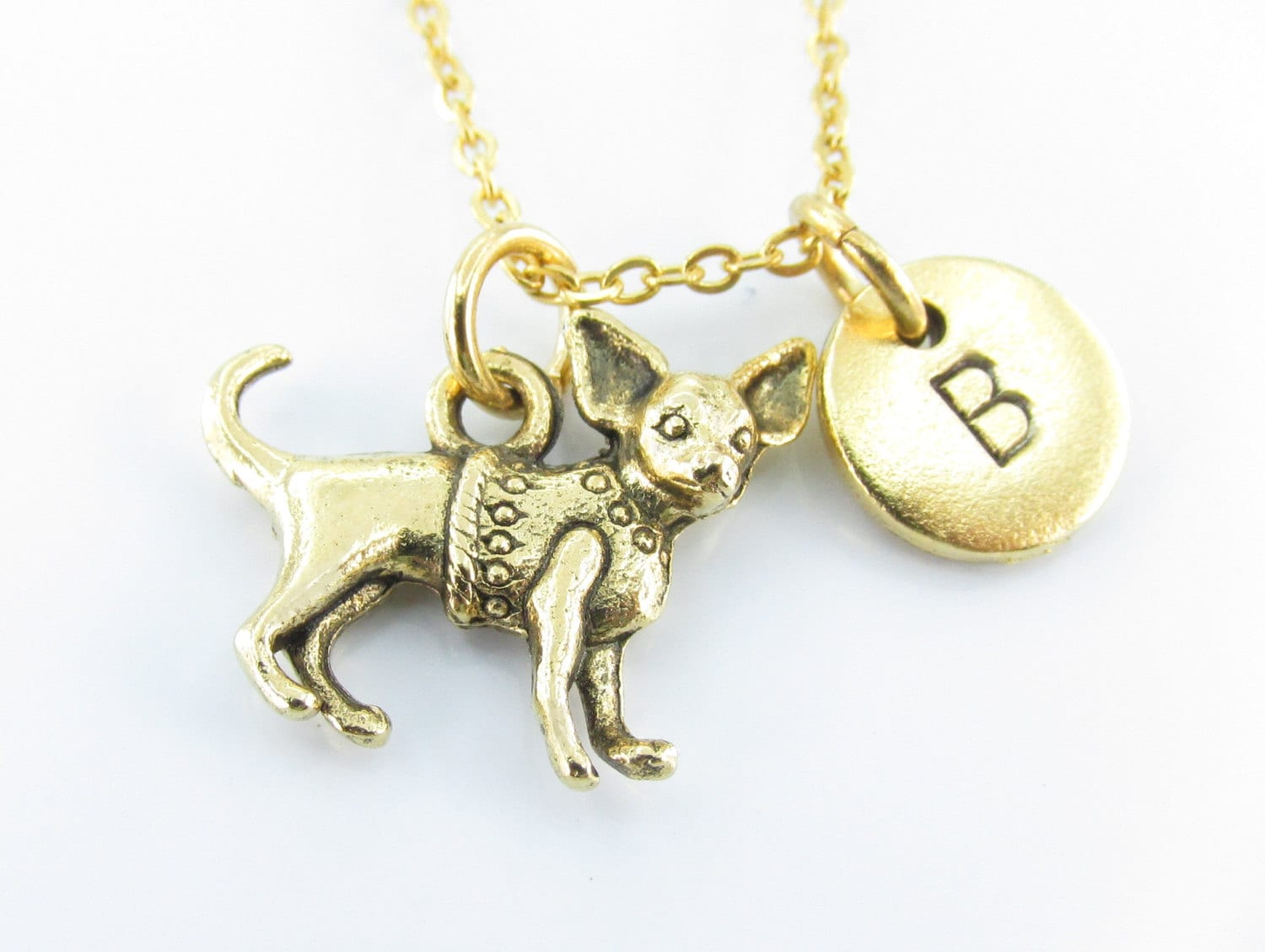 chihuahua necklace charm antique gold chihuahua