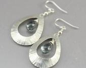 Sterling Silver and Gray Quartz Teardrop Earrings, Semi Precious Stone and Silver Dangle Earrings, Faceted Stone Earrings, Silver Jewelry