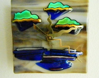 STORMY DAY, Wind and Rain, Fused Glass Wall or Desk Clock, Original Art Piece, CG9