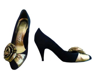 Reserved for DONNA only  70s 80s Life Stride Night Life Black and Gold High Heels // Size 8 1/2 B  US // Black Gold Rose // Wedding Glamour