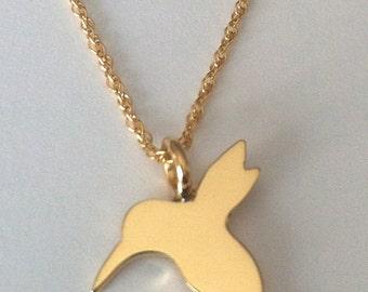 14K Gold Hummingbird Charm Necklace