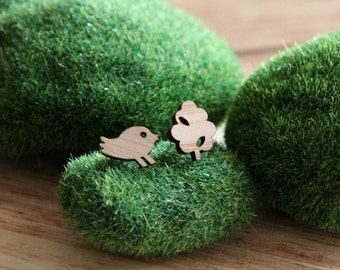 Bird & Tree Bamboo Studs