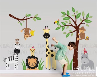 Reusable Fabric wall decal - Safari Zoo animals with Tree and monkeys, hippo, zebra, interactive decal