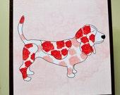 Basset Hound Art Block - Small Dog Art Block - Rustic Finish- Watercolor Flower Dogs- Home Decor- Nursery Decor- Dog Wall Art- Milk Paint
