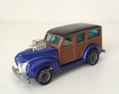 1980s Hot Wheels Real Riders Toy Car - 40's Woody - Metallic Blue with Wood Paneling, Turbine Real Rider Wheels / Gray Hubs - Diecast